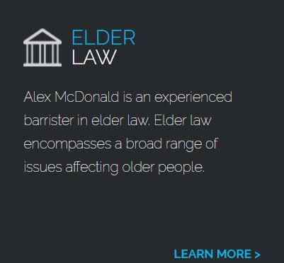 Alex is an Elder law lawyer. Elder law encompasses a broad range of issues affecting older people. Click here to learn more.
